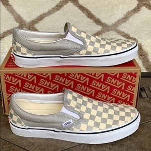 VANS CLASSIC SLIP ON CHECKERBOARD SILVER WMNS